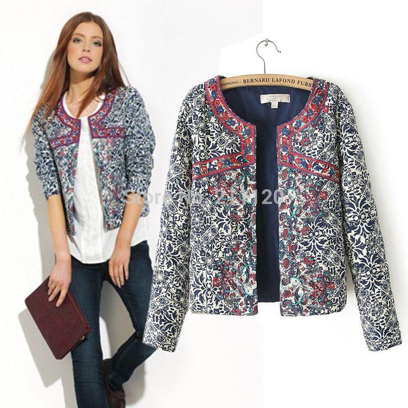 b2107d80c3 nuevo estilo europeo y americano 2014 imprimir retro azul y blanco cuello  redondo las mujeres chaqueta blazer mujeres bordado delgado outwear en  Chaquetas ...