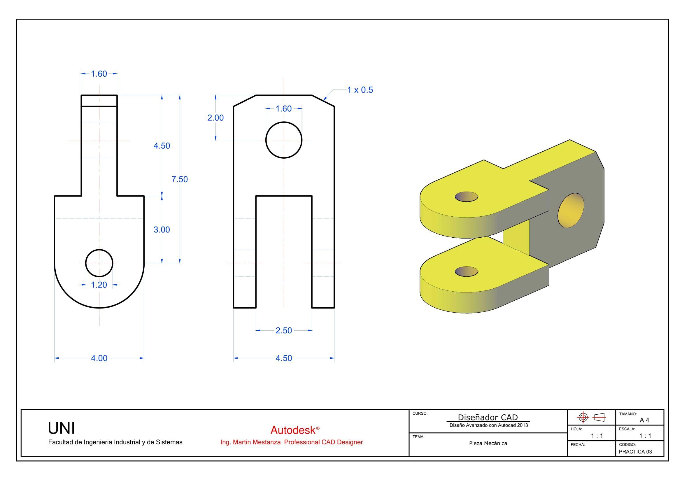 Practica De Clase N 3 Solidworks Tutorial Technical Drawing Autocad