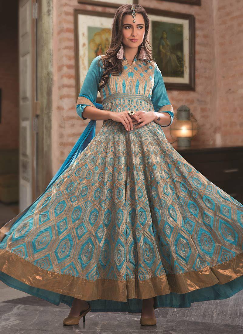 Sky Blue Benarasi Silk Ankle Length Anarkali Suit
