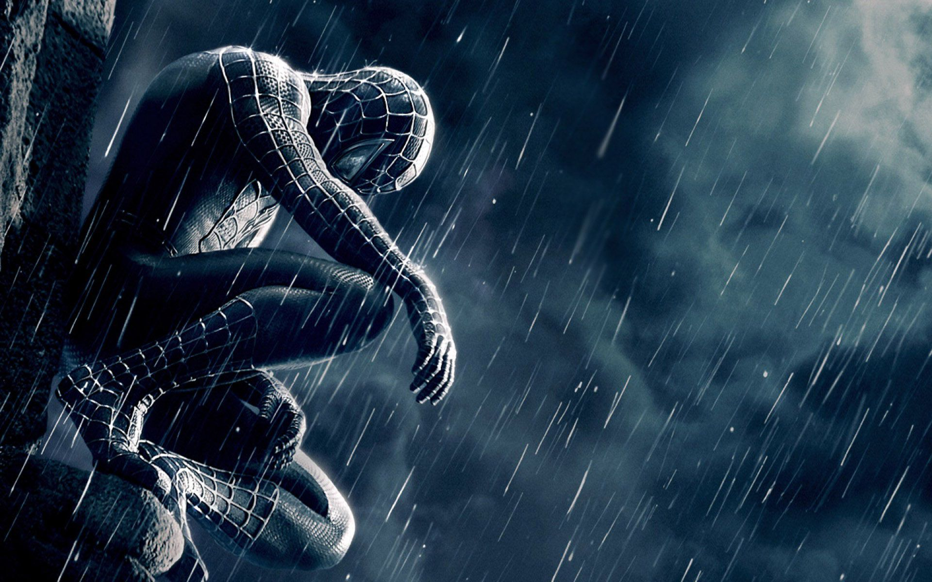 Black Spiderman In The Rain Google Search Black Spiderman Wallpaper Dekstop Spiderman