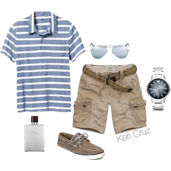 Men's Relaxed Summer by keri-cruz on Polyvore featuring Old Navy, Abercrombie & Fitch, Ray-Ban, Sperry Top-Sider, Emporio Armani and Hermès