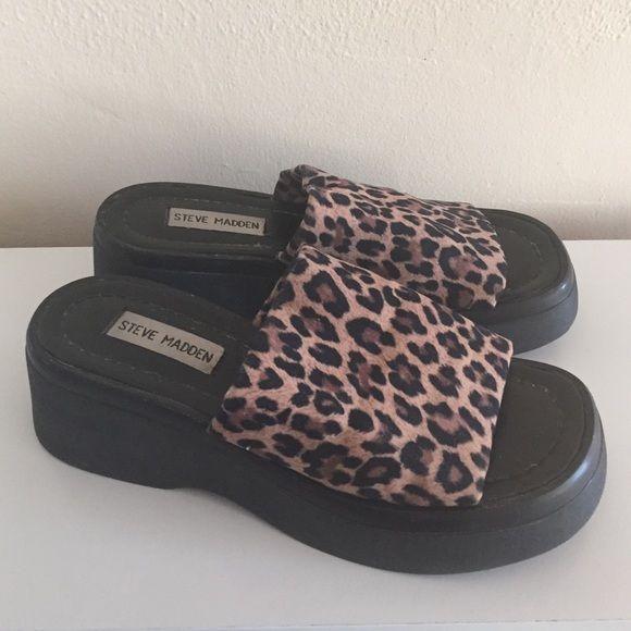 ff2576a2622f Steve Madden Shoes - 90s STEVE MADDEN platform leopard print wedges ...