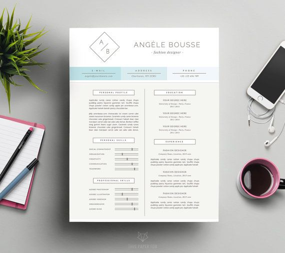 modern resume template and cover letter template for word 3 page cv template design