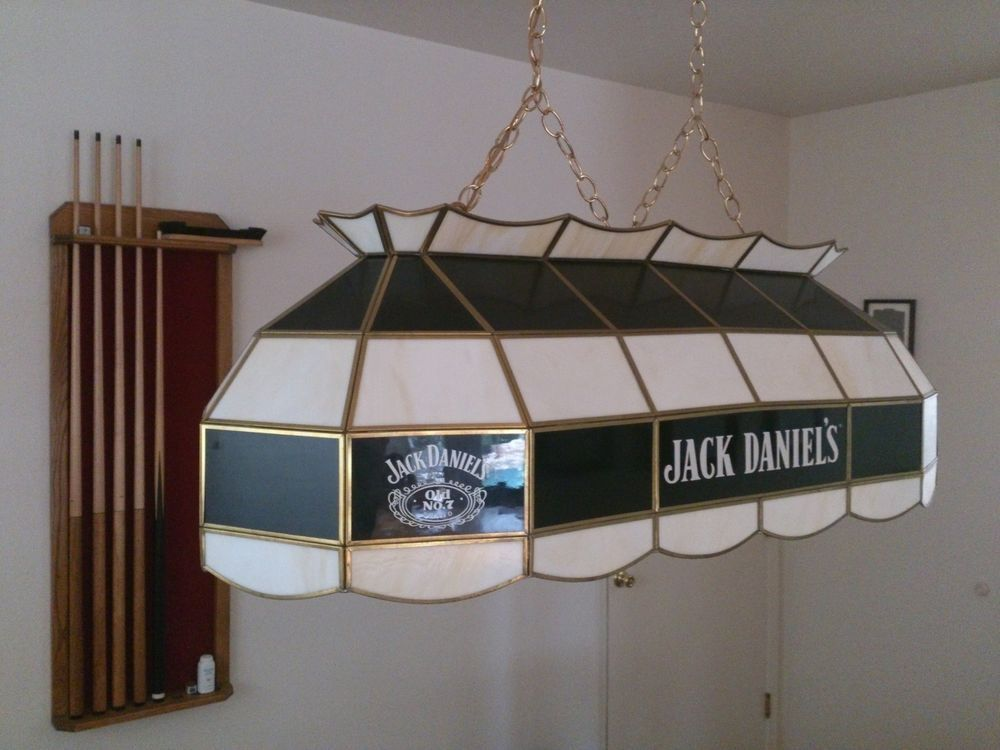 Custom Made Jack Daniels Stained Glass Pool Table Light Glass