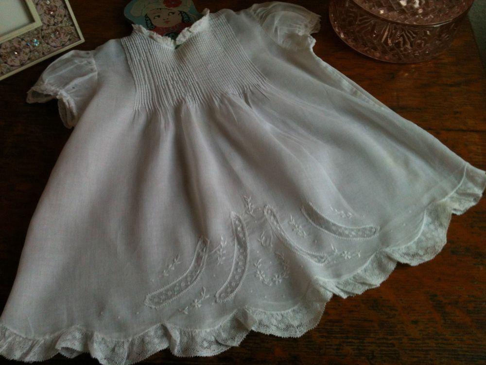 Vintage Feltman Brothers Baby Girls White Batiste Easter