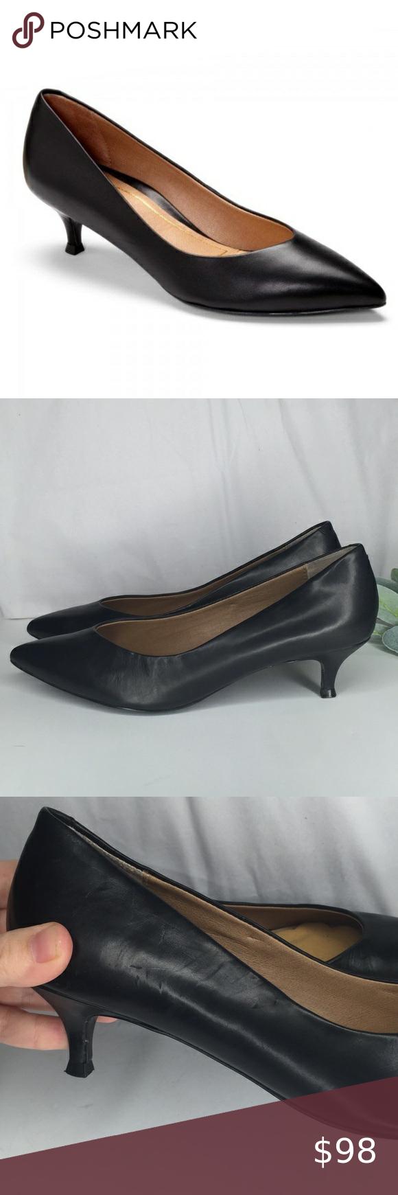 Vionic Josie Kitten Heels Black Leather Pumps 8 In 2020 Black Leather Pumps Trending Shoes Black Heels