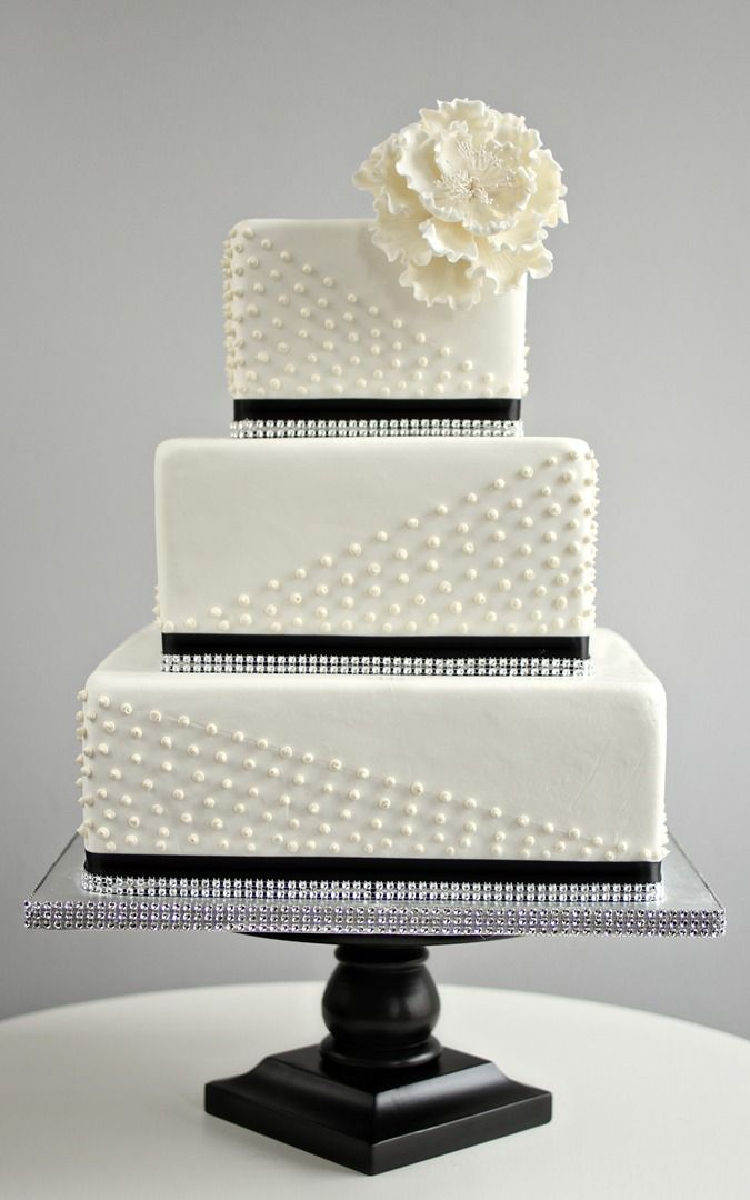 square black and white wedding cakes pictures%0A Modern White and Black Wedding Cake