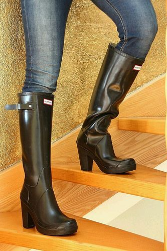 Boots Humor Kartell Womens Wedge Heel Knee High Rain Boots Navy Blue Size 40 10