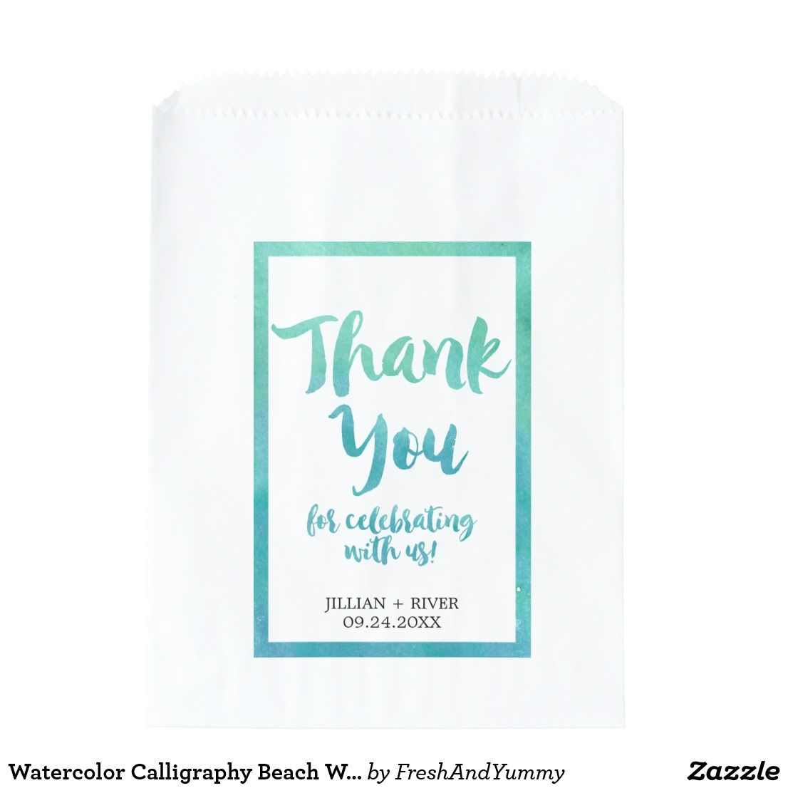 Watercolor Calligraphy Beach Wedding Favor Bags | Wedding favor bags ...
