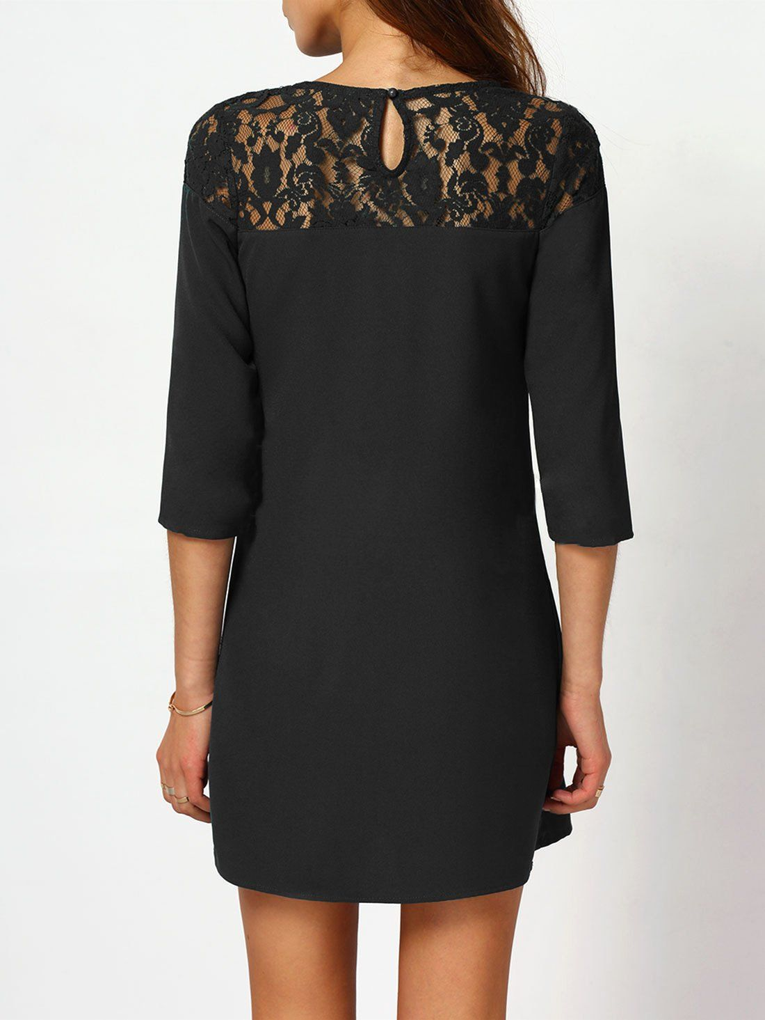 Shein Womens Hollow Sheer Lace 3 4 Sleeve Shift Dress Medium Black To View Further For This Item Mini Dress With Sleeves Women Dress Collection Shift Dress [ 1465 x 1100 Pixel ]