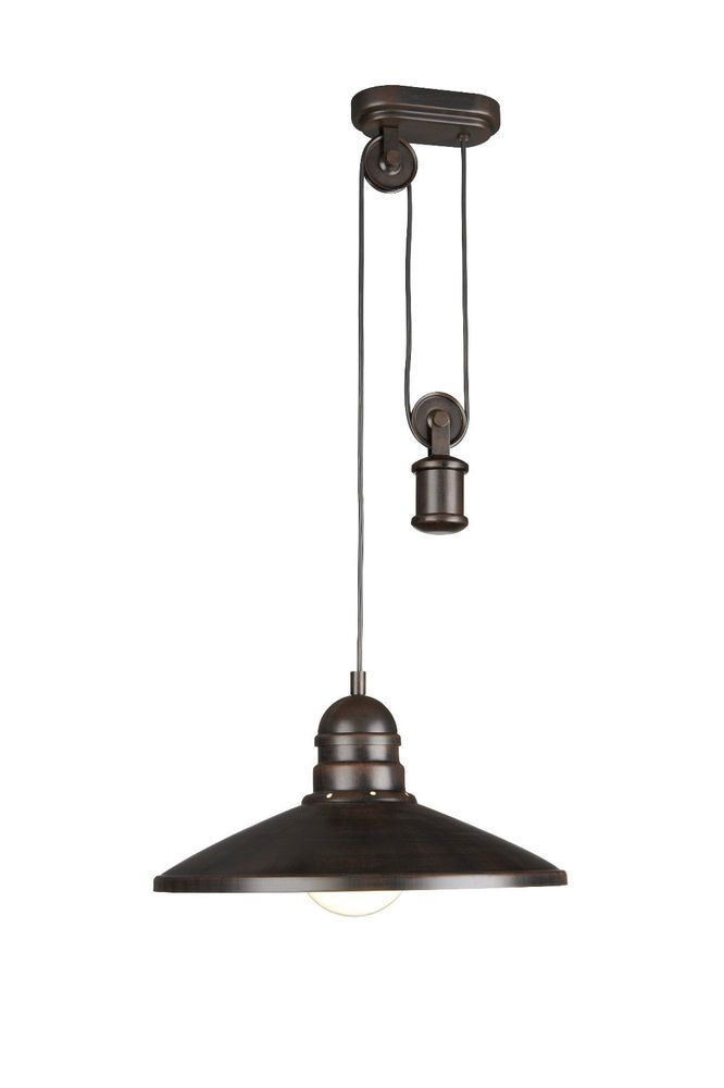 Rustic Rise and Fall Ceiling Light Pendant In Dark Bronze By Philips         135 Rustic Rise and Fall Ceiling Light Pendant In Dark Bronze By Philips  in Home  Furniture   DIY  Lighting  Ceiling Lights   Chandeliers   eBay