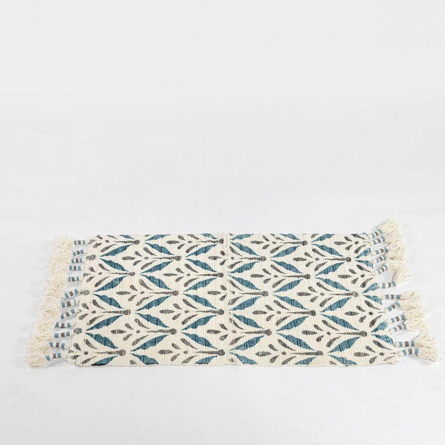 دعاسة أرضية سادة أبيض و سماوي مقاس 50 85 سم Carpet White Flats Clutch