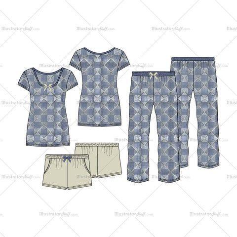 women s sleepwear pajama fashion flat template set in 2018 fashion