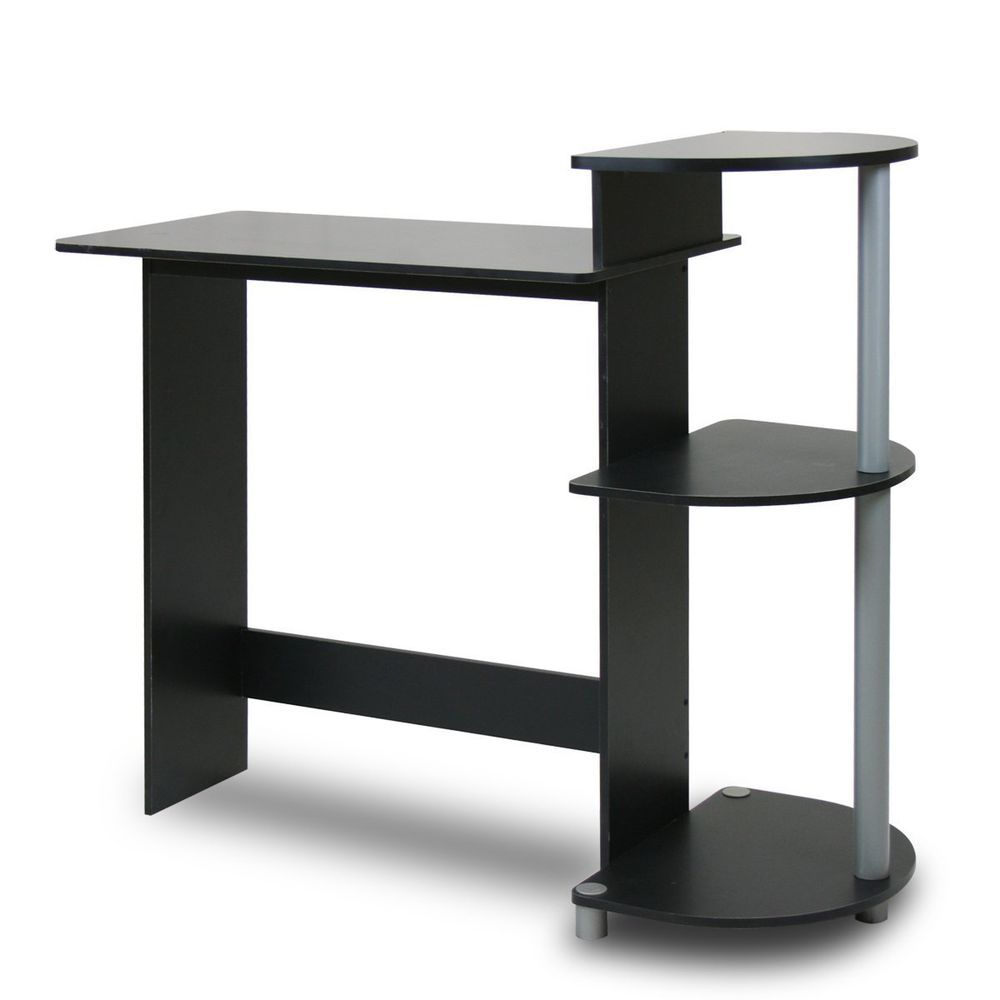 Black Small Computer Desk Compact Space Saver Kids Workstation Table ...