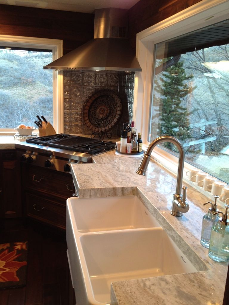 Counters: fantasy brown quartzite Faucet: Moen lindley | For the ...