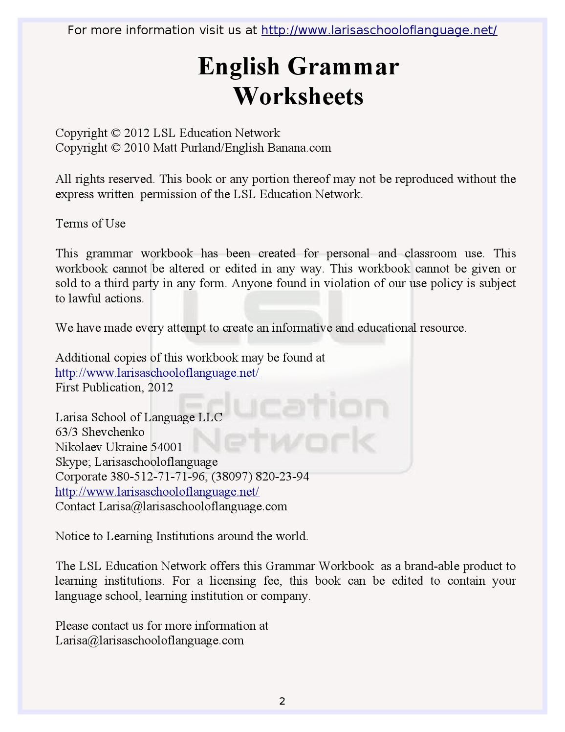 101 English Grammar Worksheets for English Learners | English ...