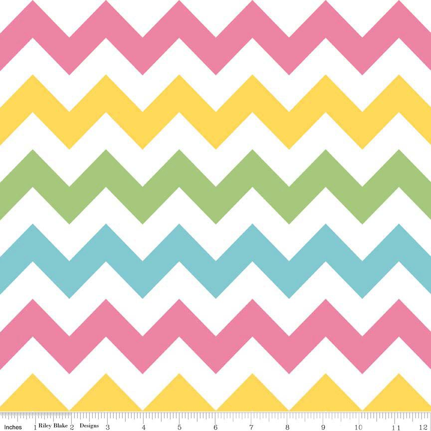 Pink Yellow Green and Aqua Girl Chevron Cotton for Riley Blake, 1 ...