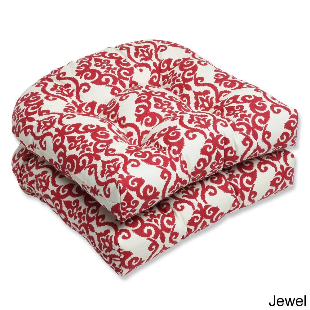 Pillow Perfect Luminary Outdoor Wicker Seat Cushions Set Of 2 Jewel Red Fabric Damask Cushion