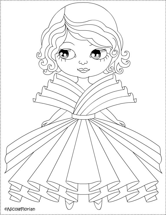 Free Coloring Pages: Paper dress for little doll