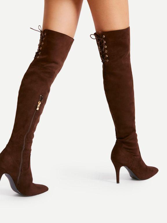 Femme Bottes Cuissardes Chaussures Suᄄᆭdᄄᆭ Bottine Boots Hiver Lacet Talon Haut