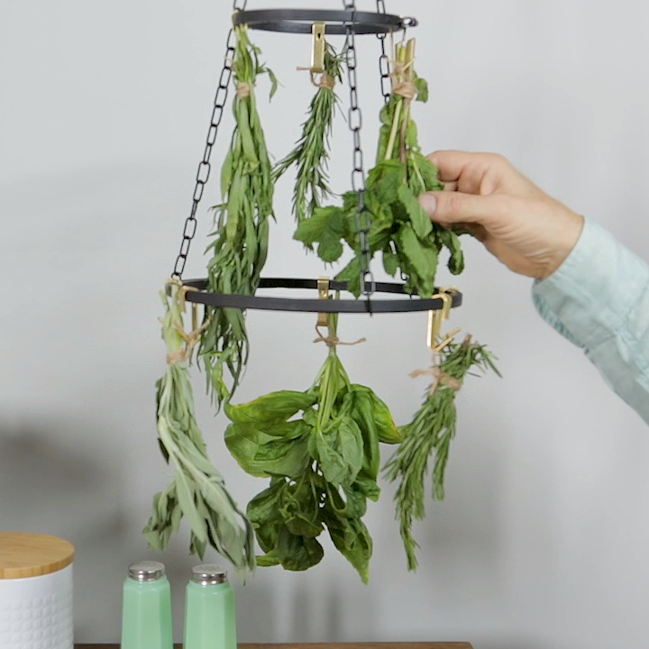 DIY Herb Drying Rack #indoorgarden