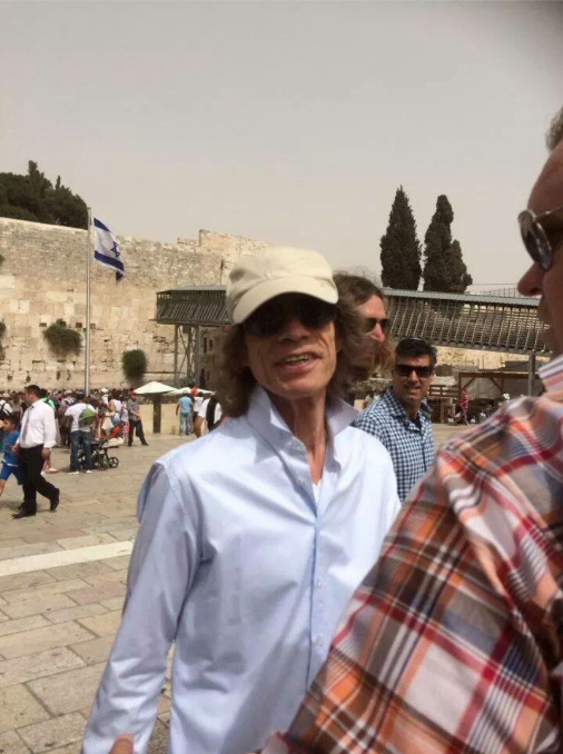 Mick Jagger in jerusalem, Israel. Visiting the western wall.