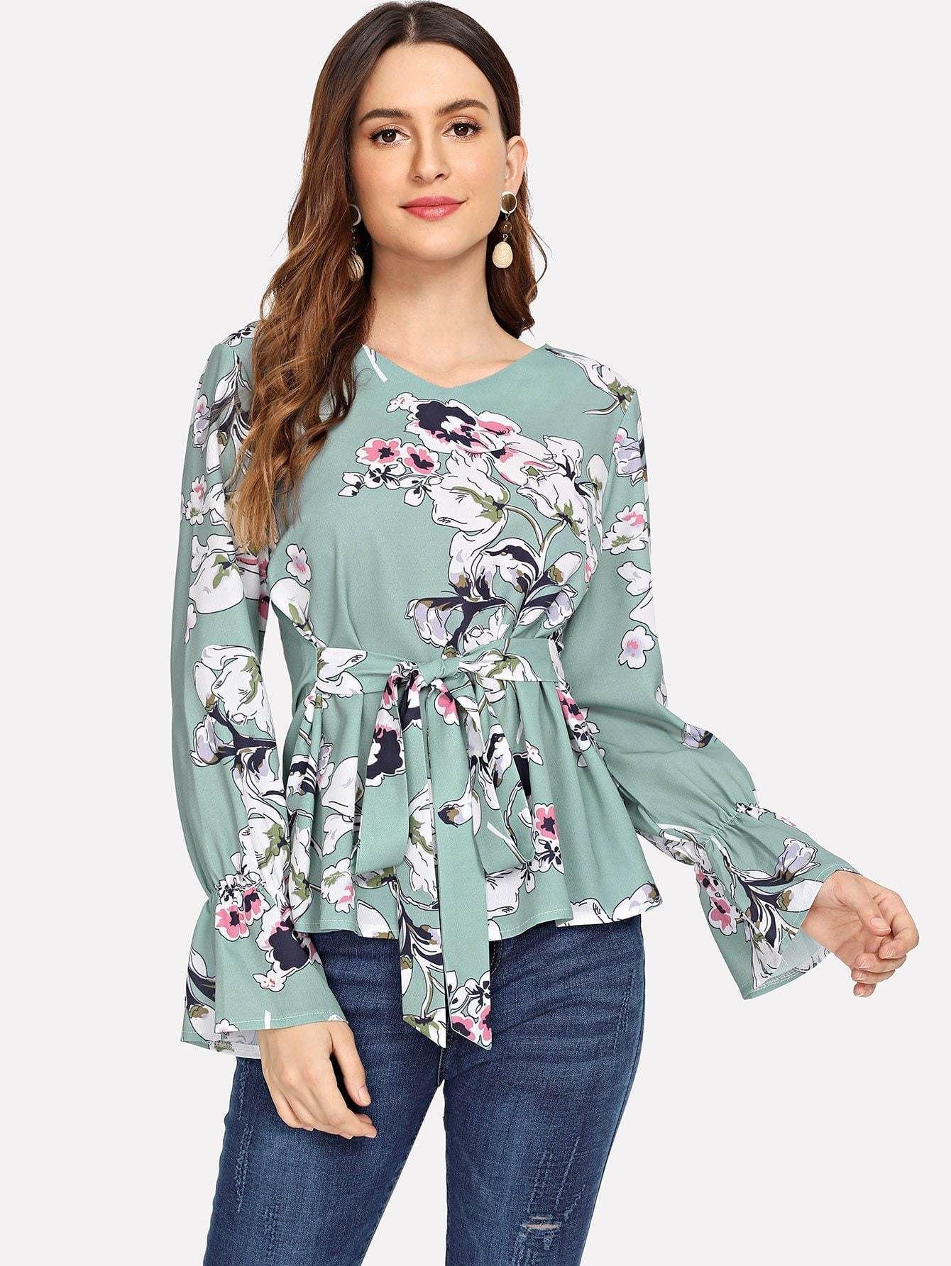 Blue Blouse Floral Print Blouse Short Sleeves Blouse Crinkle Top English Roses Print Cotton Blouse Short Sleeves Summer Jacket  Medium Size