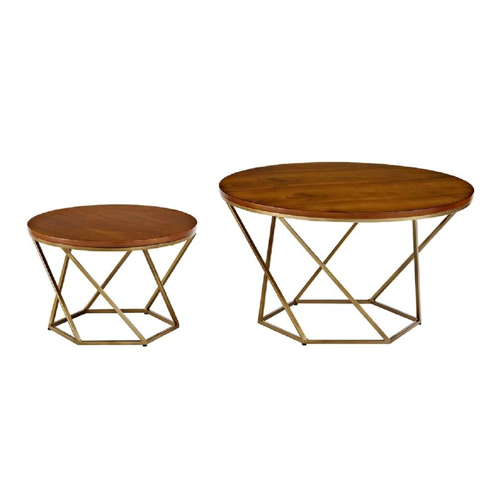 Walker Edison Furniture Company 2 Piece 28 In Gold Medium Round Glass Coffee Table Set With Nesting Tables Hdf28clrgggd The Home Depot In 2021 Geometric Coffee Table Nesting Coffee Tables Walnut Coffee Table [ 1000 x 1000 Pixel ]
