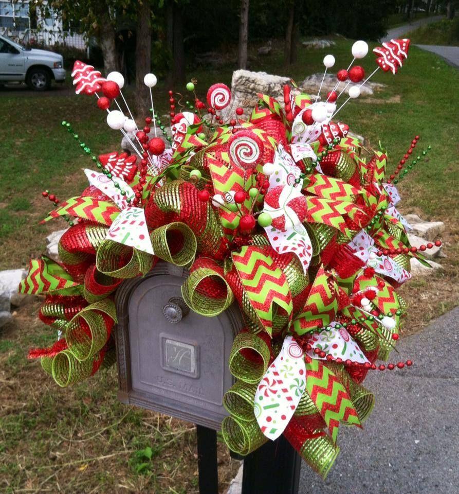 Christmas deco mesh mailbox cover www for Deco christmas decorations