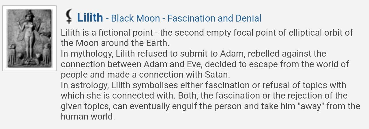 What does black moon lilith represent in astrology