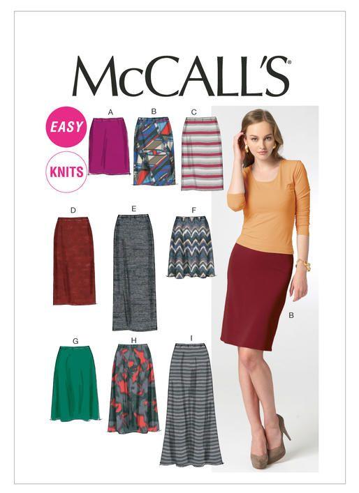 M6654 | McCall\'s Patterns Elastic waist knit skirts … | SEWING | Pinte…