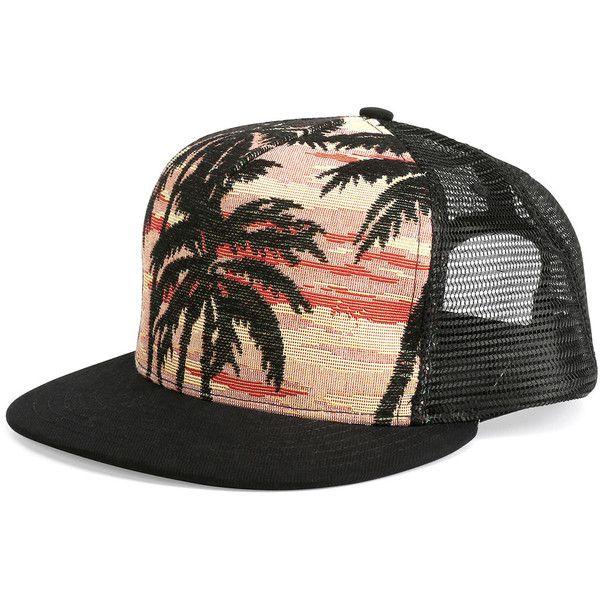 Saint Laurent Palm Tree Printed Flat-Bill Hat ( 290) ❤ liked on Polyvore c4f1621362c