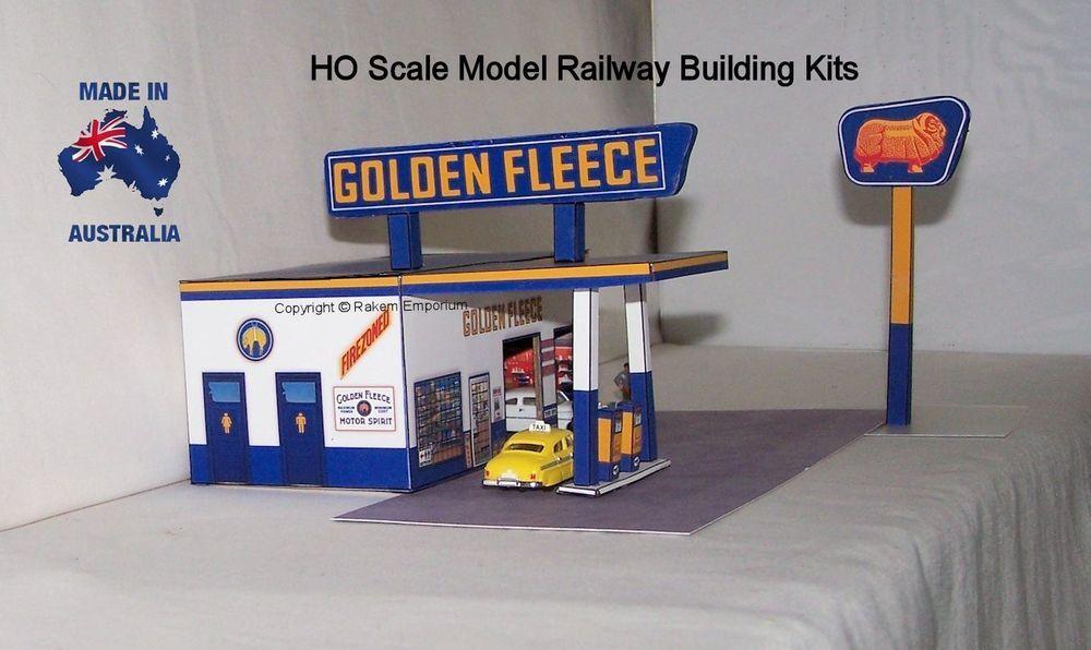 Details about HO Scale Golden Fleece Petrol Station Garage