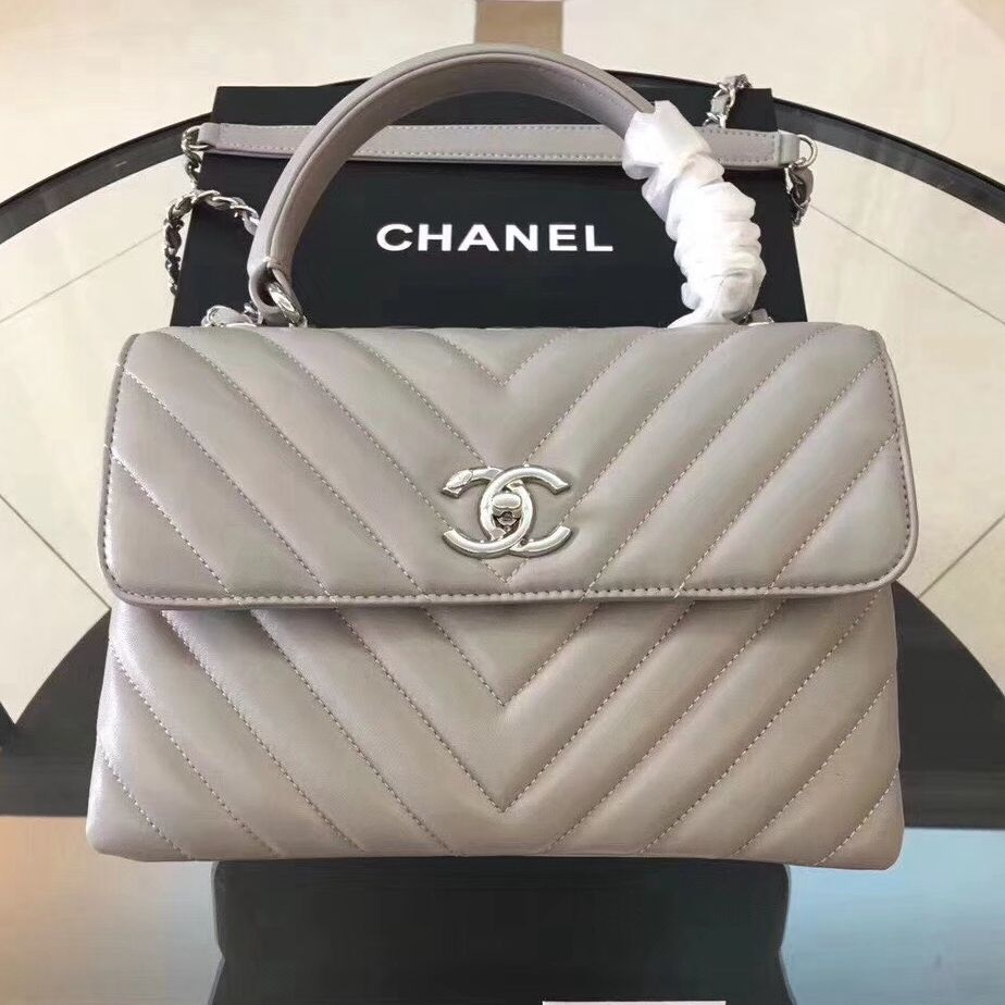 b0b8fc2f879ffe Chanel Trendy CC Chevron Lambskin Small Flap Bag with Top Handle A92236  Grey S/S 2018