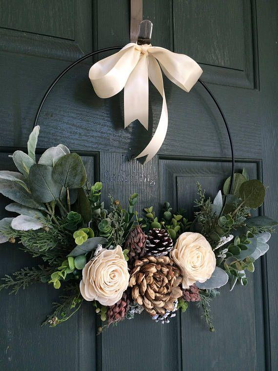 Photo of Christmas wreath, wreath for christmas, christmas decor, hoop wreath, modern wreath, door wreath, front door wreath, natural wreath – Site Today