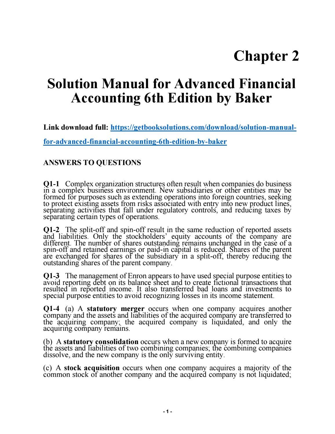 Solution manual for advanced financial accounting 6th edition by baker Financial  Accounting, Manual, Textbook