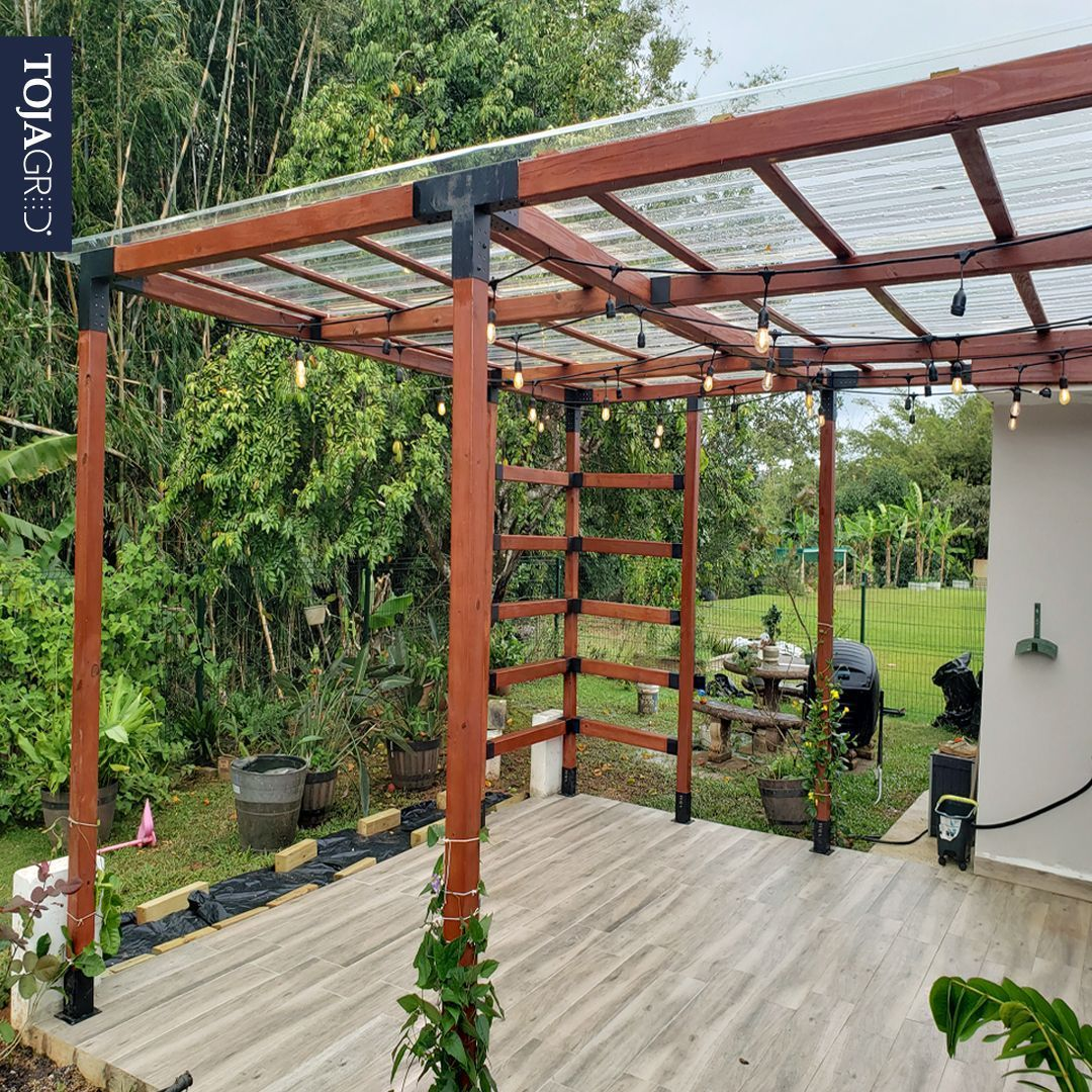 Double pergola kit with 2 shade sails for 4x4 wood posts