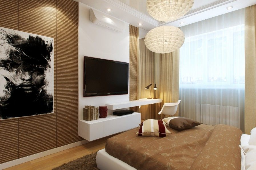Bedroom Tv Design Ideas Bamboo Wall Ideas White Shelving Unit Tv Modern Chandelier White Chair Also