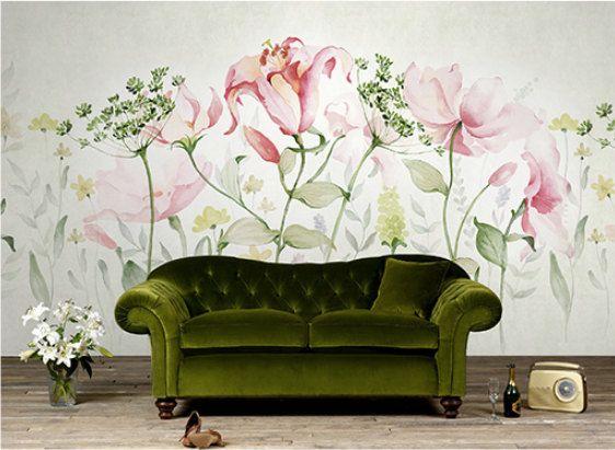 Des Fleurs Fraiches Papier Aquarelle A Laneth Fleurs Murale