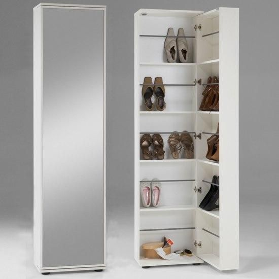 Wooden Shoe Storage Cabinet With Mirror In White