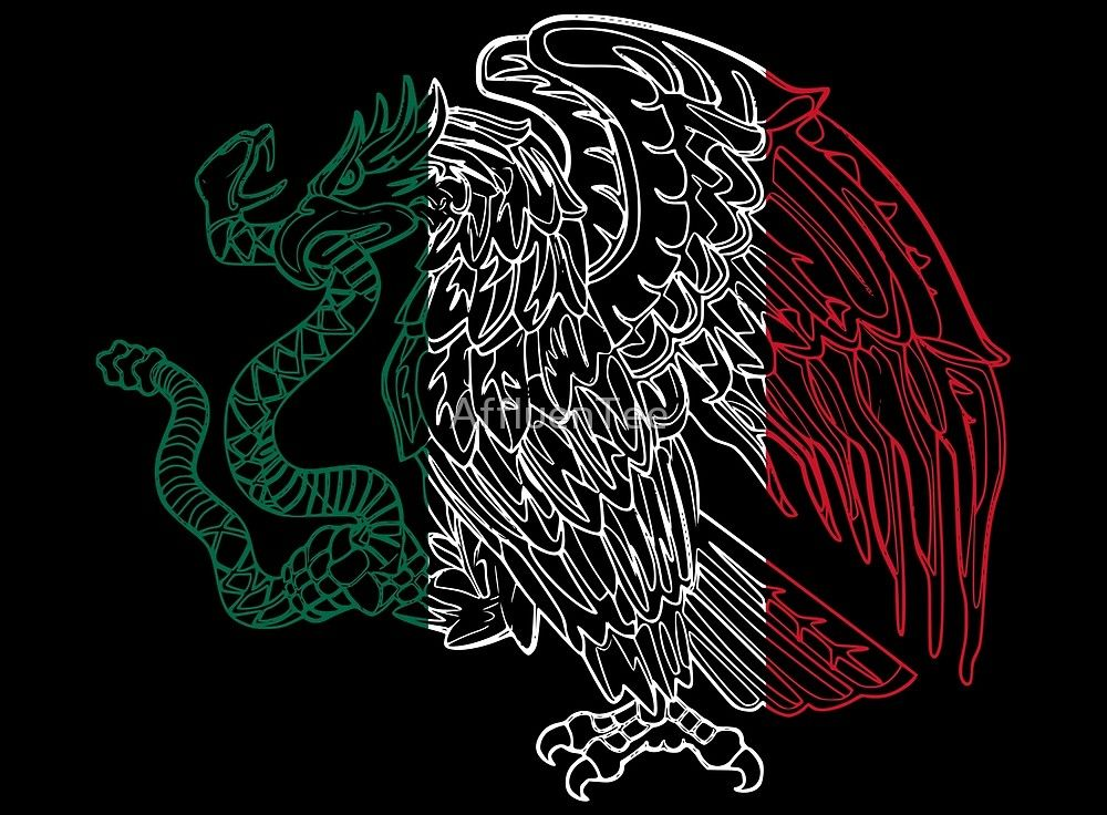 aedbcfd031b5a Mexico Coat Of Arms Eagle by Rebelde Shirts. Mexico Flag colors ...