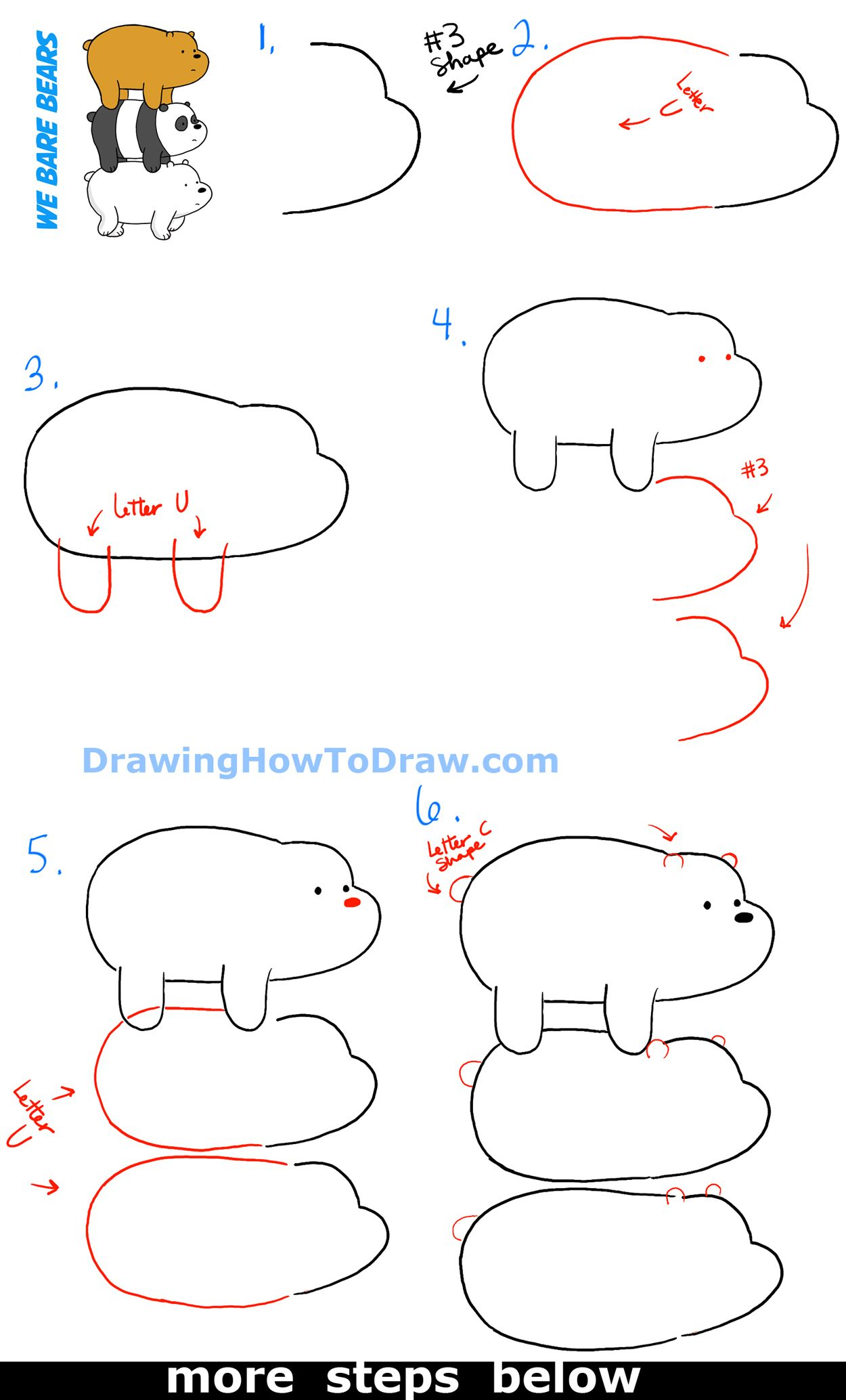 Uncategorized Step By Step How To Draw A Panda how to draw grizzly panda and ice bear from we bare bears bearstack step by drawing tutorials