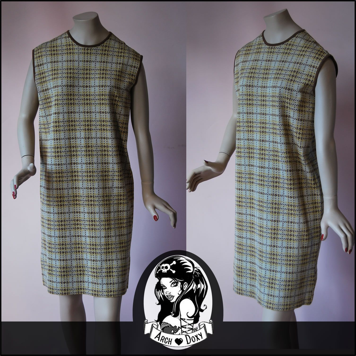 Vintage superb s plaid knitted shift mini mod twiggy beige dress