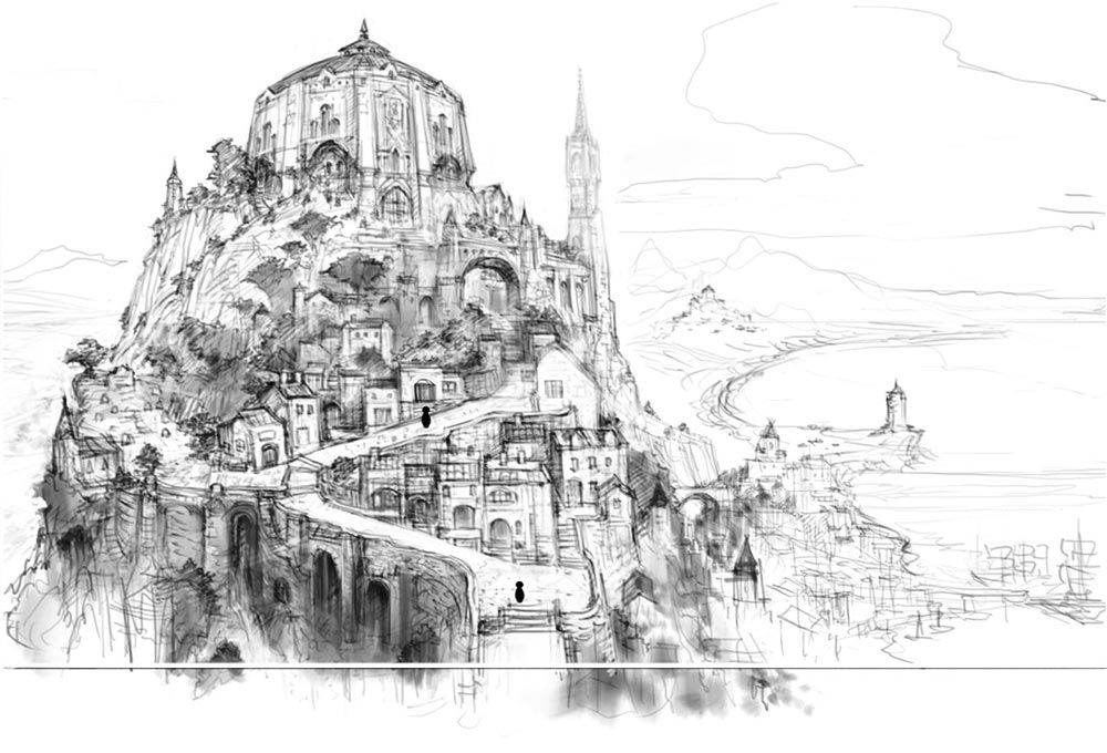 Character Design Environment : Town on hill sketch environment village pinterest