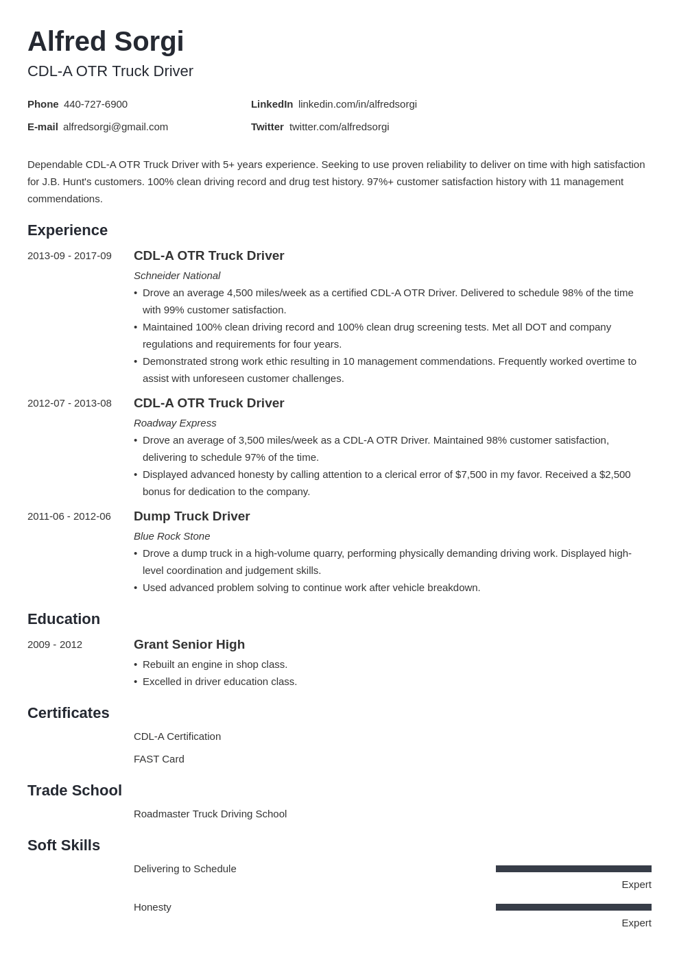 Truck Driver Resume Example Template Minimo Resume Examples Job Resume Examples Resume
