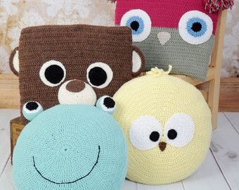CROCHET PATTERN For Animal Cushions Pillow , Owl, Bear, Chick & Frog PDF 255 Digital Download ...