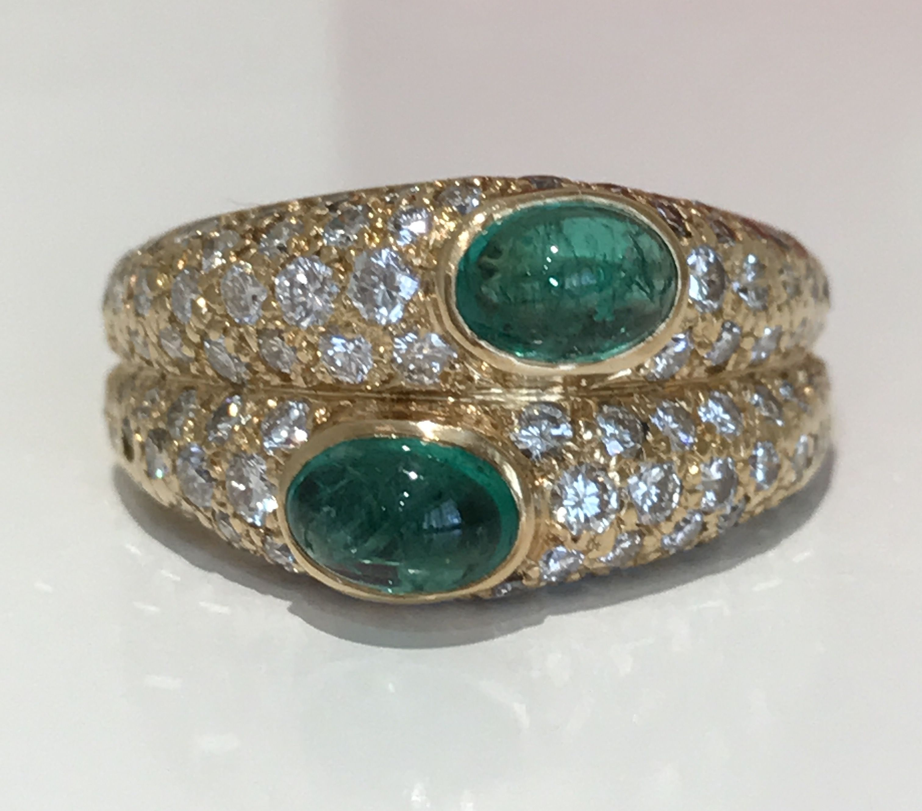 crt white gold diamonds enamel cartier enameled large round and estate emerald diamond black ring cocktail panthere