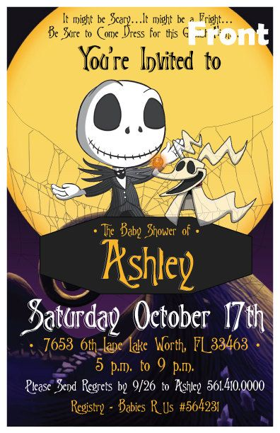 Personalized Nightmare Before Christmas 5 5x8 5 Baby Shower Or Birthd Nightmare Before Christmas Babyshower Christmas Baby Shower Invites Christmas Baby Shower