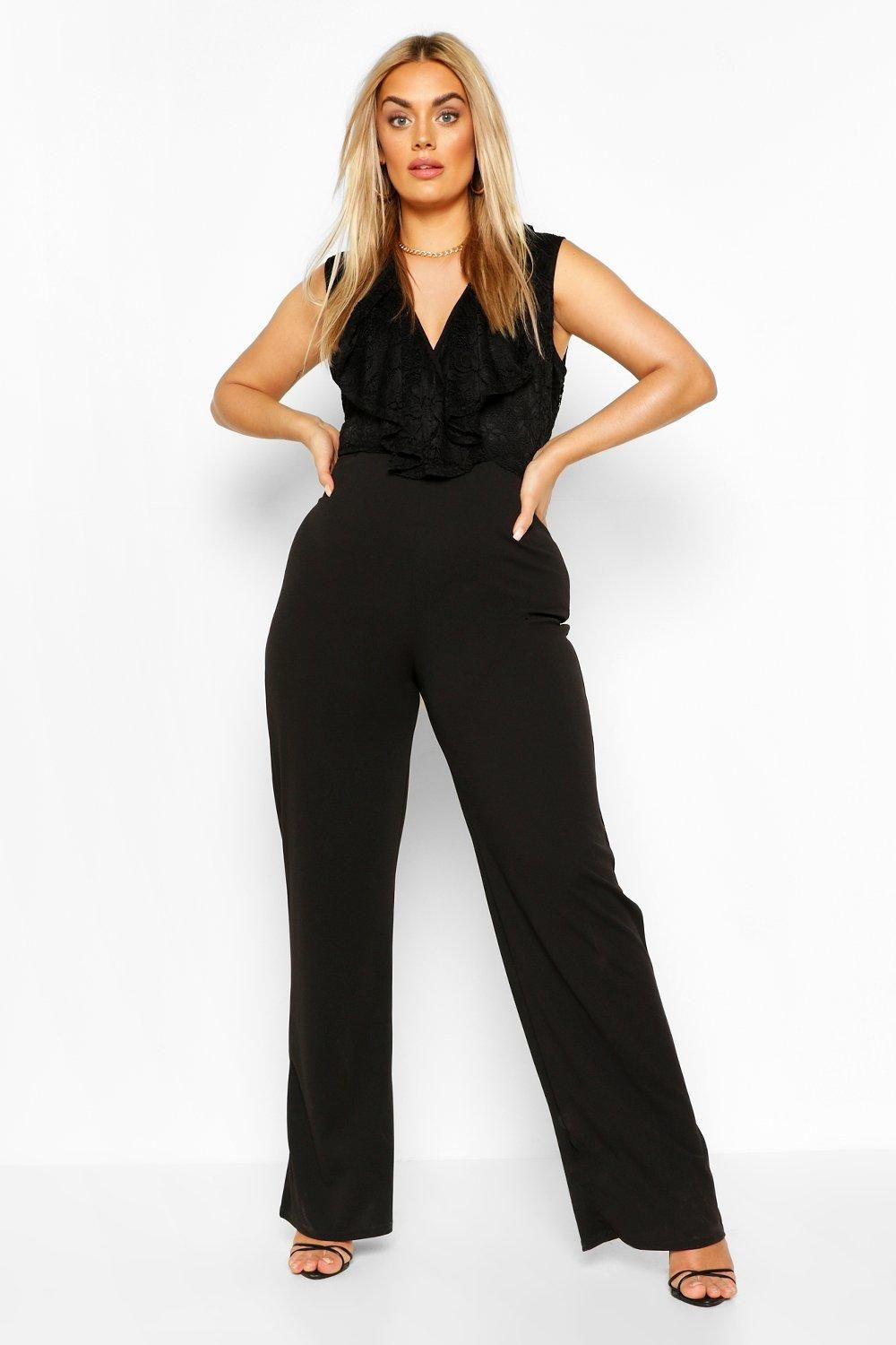 Womens Plus Lace Ruffle Wrap Wide Leg Belted Jumpsuit