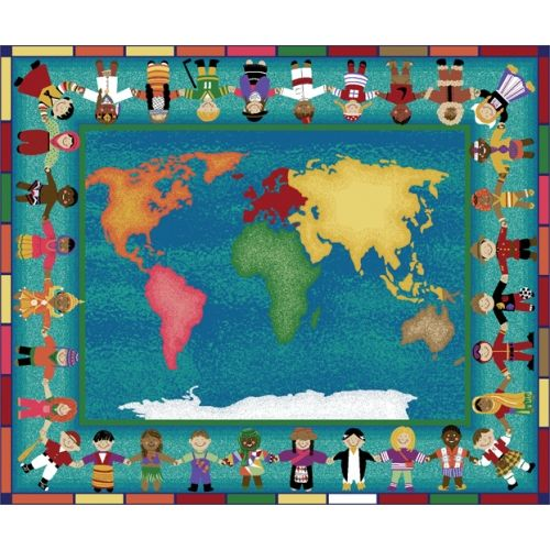 Hands Around The World Rug 5 4 X 7 8 Rectangle Decorate Your Classroom With This Fun Rug Rugs Classroom Carpets Cool Rugs